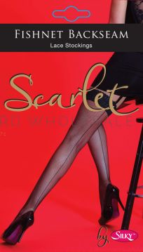 Fishnet Backseam Lace Stockings By Scarlet By Silky