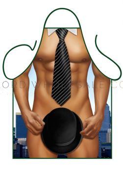 Novelty Barbeque Aprons Bowler Hat & Tie