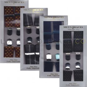 Mens Braces Patterned by Hetherington Gray 12 pieces