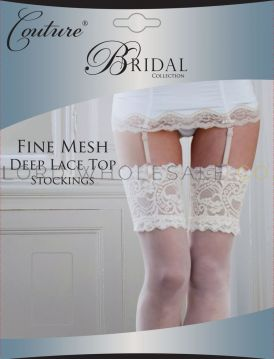 Bridal Fine Mesh Deep Lace Top Stockings by Couture