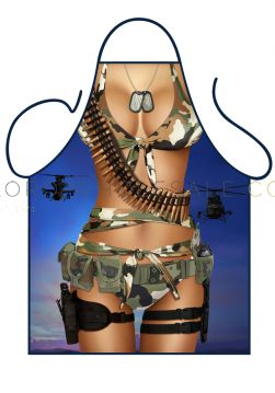 Novelty Barbeque Aprons Army Girl