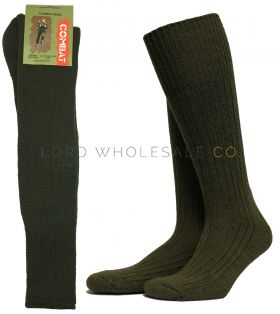 Men's Wool Combat Socks Green or Black 12 pairs