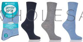 DIABETIC Ladies Blues Gentle Grip Socks by Sock Shop