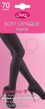 Ladies 70 Denier White Soft Opaque Tights by Silky 6 pairs