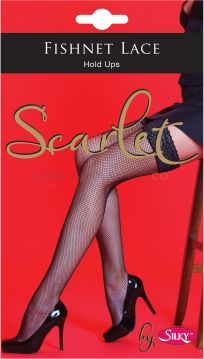 Scarlet Fishnet Lace Top Hold Ups By Silky