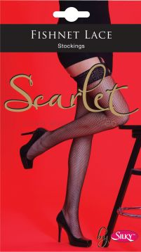 Scarlet Fishnet Lace Top Stocking by Silky 6 pairs