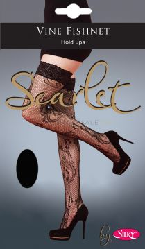 Scarlet Vine Fishnet Lace Top Hold Ups