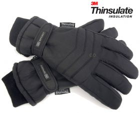 Mens 3M Thinsulate Thermal Lined Padded Ski Gloves GL123 12 pieces