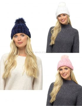 GL579 Chenille Hats With Fur Bobble