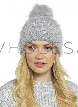 GL591 Knitted Metallic Silver Lurex Hats