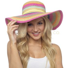 GL736 Bright Coloured Striped Wide Brim Summer Hats