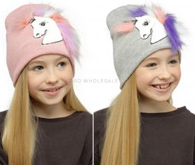 GL932 Girls Knitted Unicorn Hats