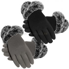 GLA159 Touch Screen Fur Cuff Dress Gloves