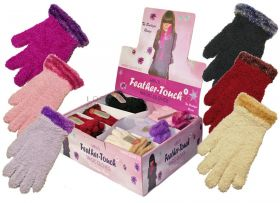 GLF124 Girls Feather Touch Boutique Gloves 36 pairs