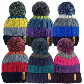 HAI403 Unisex Striped Chunky Knitted Bobble Hats