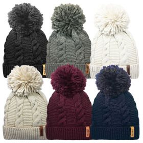 Ladies Chunky Knitted Bobble Hats by Rock Jock 12 pieces