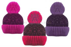Girls Fleece Lined Chunky Knitted Marl Bobble Hats by Rock Jock 12 pieces
