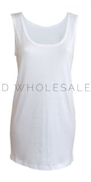 Ladies 100% Cotton Interlock Picot Edge Vests 12 pieces