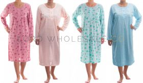 Cotton Rich Jersey Long Sleeved Nightdresses by Romesa/Lucky 10 pieces