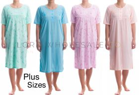 Up To 6XL Jersey Plus Size Short Sleeved Nightdresses by Romesa/Lucky 10 pieces