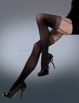 Scarlet Mock Lace Suspender Tights by Silky 6 pairs