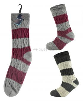 SK076 Mens Striped Slipper Socks