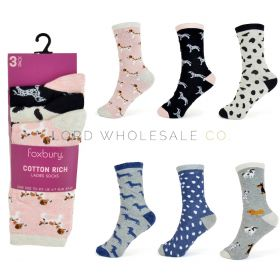Ladies Cotton Rich Socks by Foxbury 3 pair pack 12 pairs