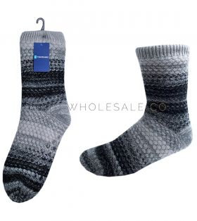 Men's Chunky Knitted Slipper Socks with Grips Sherpa Lining 12 Pairs