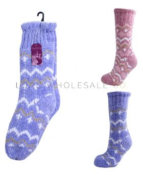 Ladies Chenille Fairisle Chunky Slipper Socks with Grips and Sherpa Lining 12 Pairs
