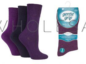 DIABETIC Ladies Purple Gentle Grip Socks by Sock Shop