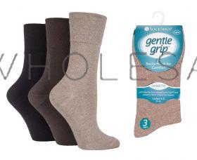 DIABETIC Ladies Dark Browns Gentle Grip Socks by Sock Shop