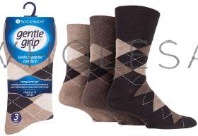 SOMRJ Men's Argyle Browns Gentle Grip Socks